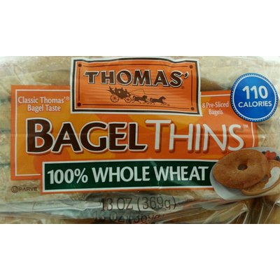 Calories in Bagels Thins, 100% Whole Wheat from Thomas'