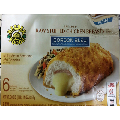 Calories In Raw Stuffed Chicken Breast Cordon Bleu From Barber Foods
