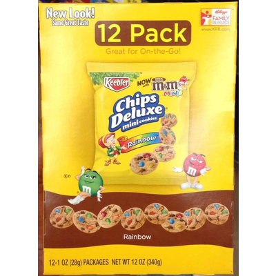calories in chips deluxe mini cookies rainbow from keebler