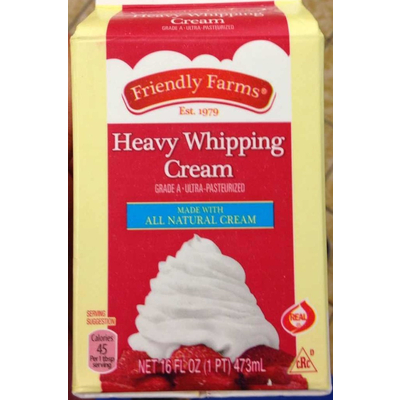 Calories in Heavy Whipping Cream from Friendly Farms
