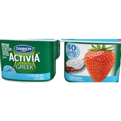 Activia, Greek Yogurt, Light, Fat Free, Strawberry Fruit on the Bottom