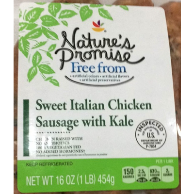 Calories In Sweet Italian Chicken Sausage With Kale From Giant