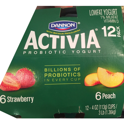 Lowfat Yogurt, Strawberry. Dannon Activia