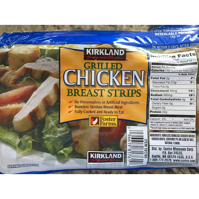 Calories In Grilled Chicken Breast Strips From Kirkland Signature