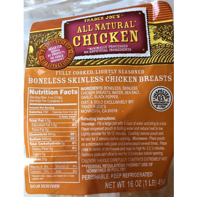 Calories in All Natural Chicken, Boneless Skinless Chicken